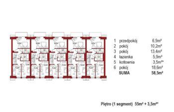 Projekt domu szeregowego-bliźniaczego Diana A zestaw 5 segmentów rzut pietro