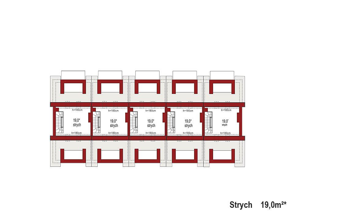 Projekt domu szeregowego-bliźniaczego Diana A zestaw 5 segmentów rzut strychu
