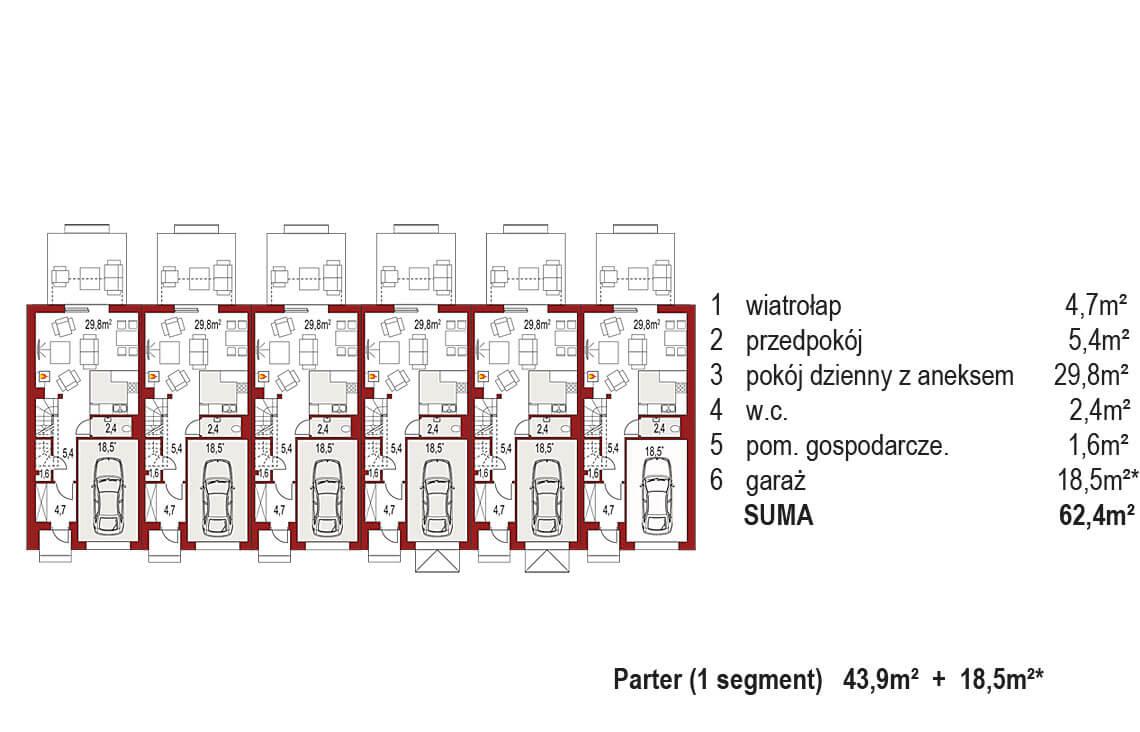 Projekt domu szeregowego-bliźniaczego Diana A zestaw 6 segmentów rzut parter