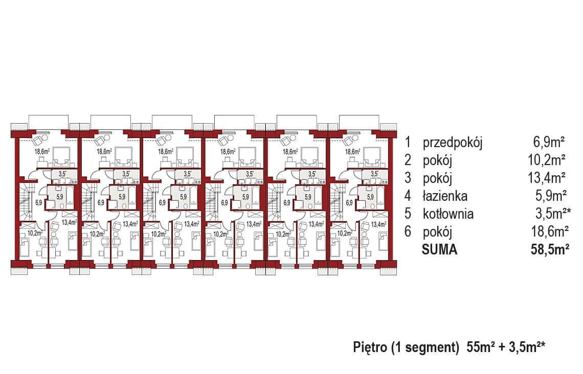 Projekt domu szeregowego-bliźniaczego Diana A zestaw 6 segmentów rzut pietro