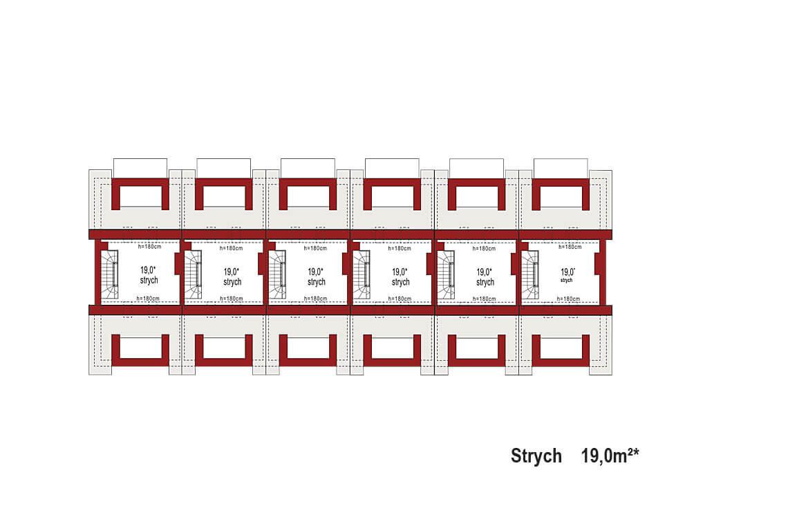Projekt domu szeregowego-bliźniaczego Diana A zestaw 6 segmentów rzut strychu