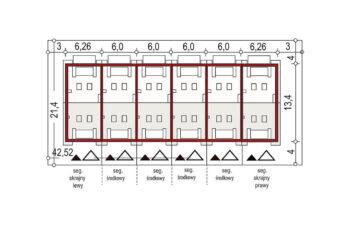 Projekt domu szeregowego-bliźniaczego Diana A zestaw 6 segmentów sytuacja