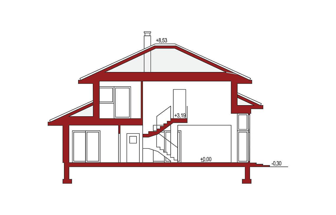 Projekt domu jednorodzinnego Carmen Magdalena B przekrój