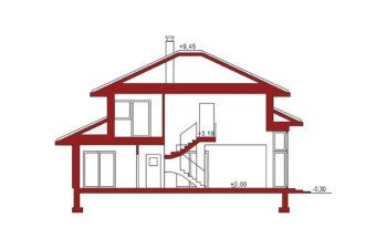 Projekt domu jednorodzinnego Carmen Magdalena B 30 stopni przekrój