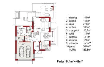 Projekt domu jednorodzinnego Carmen Magdalena B rzut parter