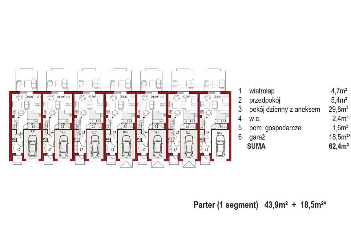 Projekt domu szeregowego-bliźniaczego Diana A zestaw 7 segmenty rzut parter