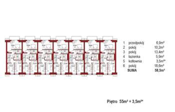 Projekt domu szeregowego-bliźniaczego Diana A zestaw 7segmentów rzut pietro