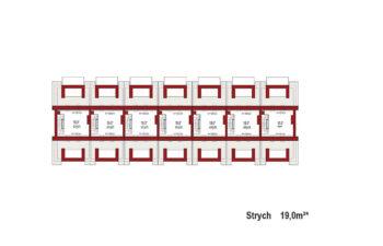 Projekt domu szeregowego-bliźniaczego Diana A zestaw 7 segmentów rzut strychu