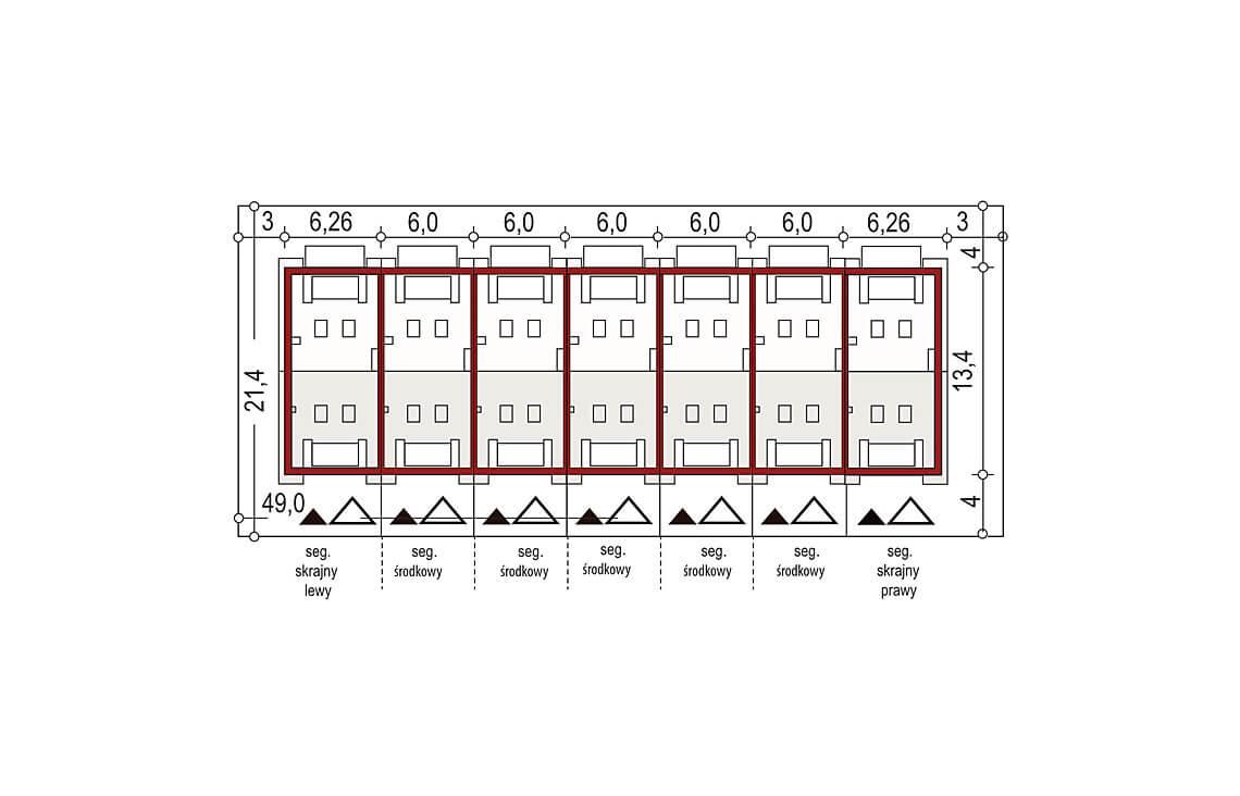 Projekt domu szeregowego-bliźniaczego Diana A zestaw 7 segmentów sytuacja