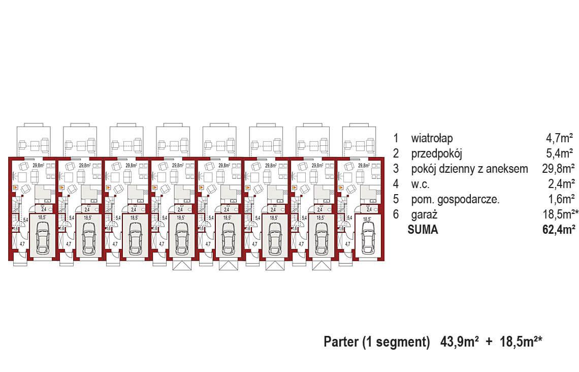 Projekt domu szeregowego-bliźniaczego Diana A zestaw 8 segmentów rzut parter