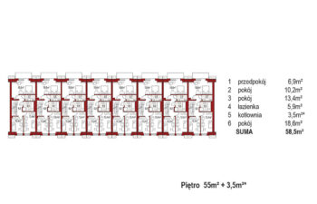 Projekt domu szeregowego-bliźniaczego Diana A zestaw 8 segmentów rzut pietro